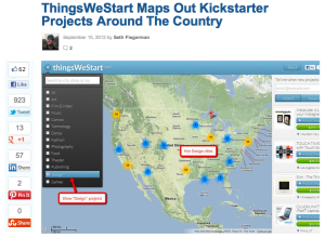 thingswestart on mashable, mashable writes about thingwestart, thingwestart kickstarter map tool, kickstarter projects on thingswestart map